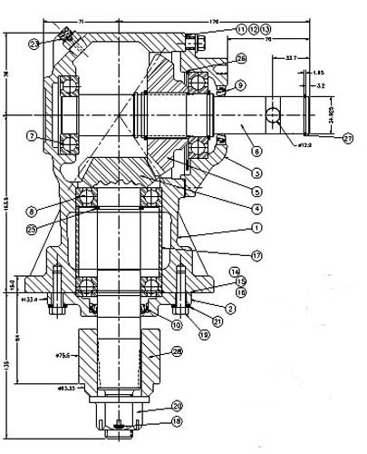 Omni USA:Rotary Cutter:RC Series Gearbox Parts:RC30-250001