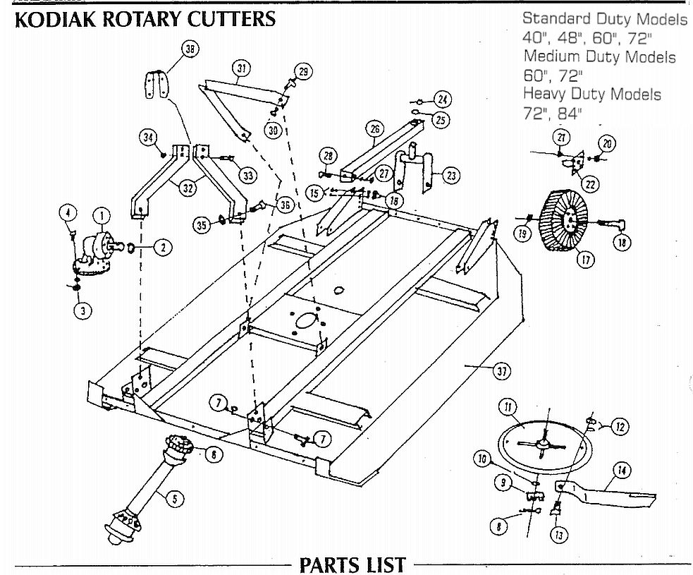 kodiak rotary cutter std, med, hd and grizzley base assembly bush hog operation bush hog schematics #10